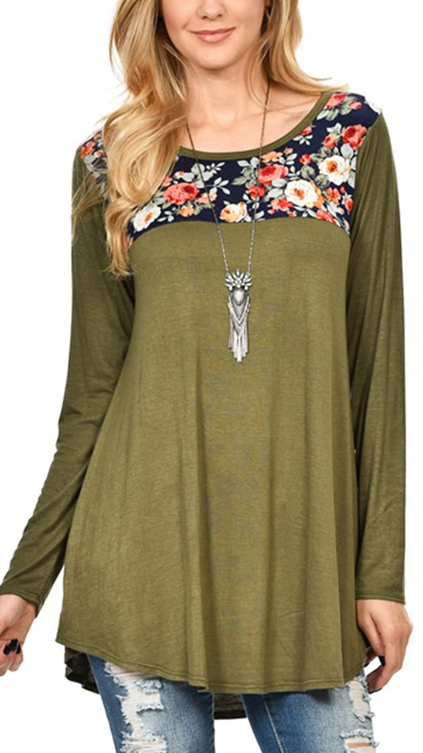 UMe Womens Extra Soft Loose Fit Floral Tunic Tops Round Neck Casual Flowy Long Sleeve Nightshirt Shirt Tee