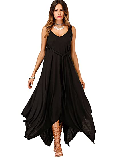 81f4b4168a Romwe Women s Casual Tie Detail Open Back Hanky Hem Flare Long Dress Black  S at Amazon Women s Clothing store