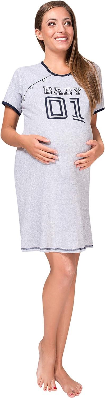 Sibinulo Maternity Nursing Breastfeeding Nightdress Pyjama Baby 01 Grey