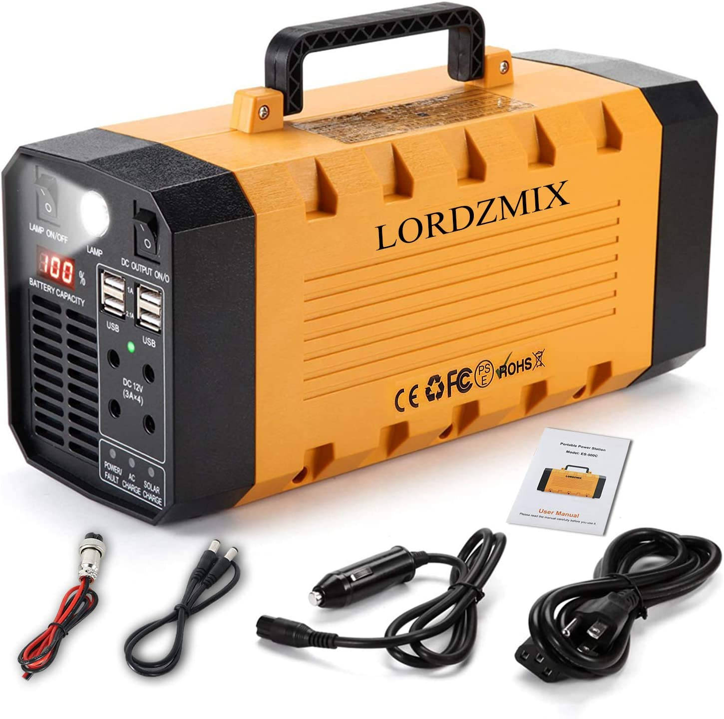 Portable Power Station 500W,Generator 288Wh Backup CAPA,Solar Power Station,110V Solar Generator for Home Use,Portable Generator with LED Flashlight AC Outlet for Outdoor Camping Road Trip Emergency