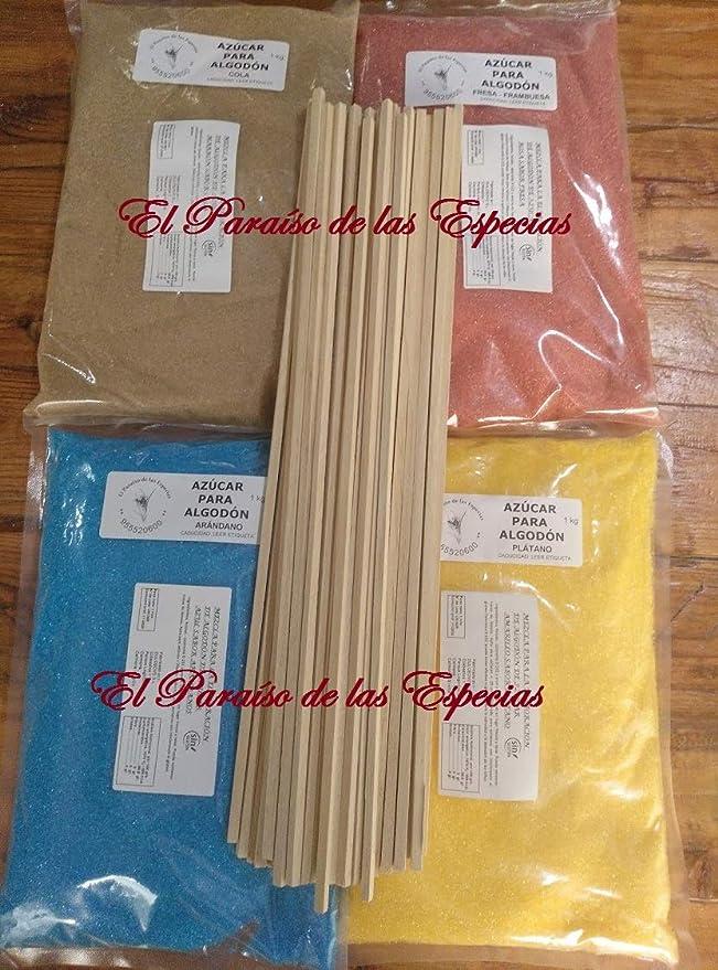 Pack cuatro Sabores Colores para Algodón de Azúcar - 4 Kilos de Azúcar Celeste Arandano , Amarillo Plátano , Rosa Fresa y Marrón Cola - REGALO 50 Palos Cuadrados de 40 cm: Amazon.es: Alimentación y bebidas