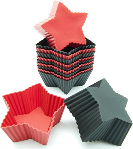 Freshware Silicone Cupcake Liners Baking Cups 12 Pack Muffin Molds Star Red And Black Colors Black Red Amazon Co Uk Kitchen Home