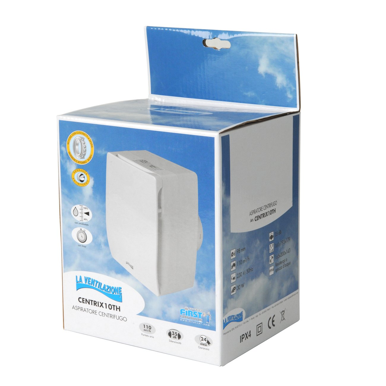 Die Bel/üftung centrix10th Zentrifugal Abluftventilator mit Timer Toilette und Hygrometer verstellbar f/ür Bohrung Durchmesser 100/mm//4/