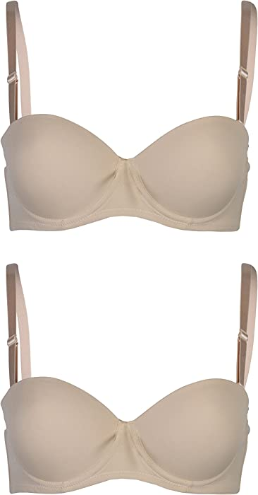 Passionelle Womens Smoothly Padded Strapless Multiway Push up Bras Pack of 2
