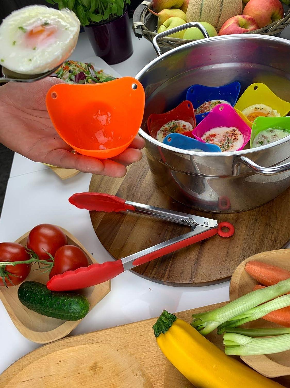 OKTHANNA escalfador de Huevos de Silicona Set de 8 moldes para Huevos con Pinzas de Silicona podrás Hacer los Mejores Huevos escalfados Apto para ...