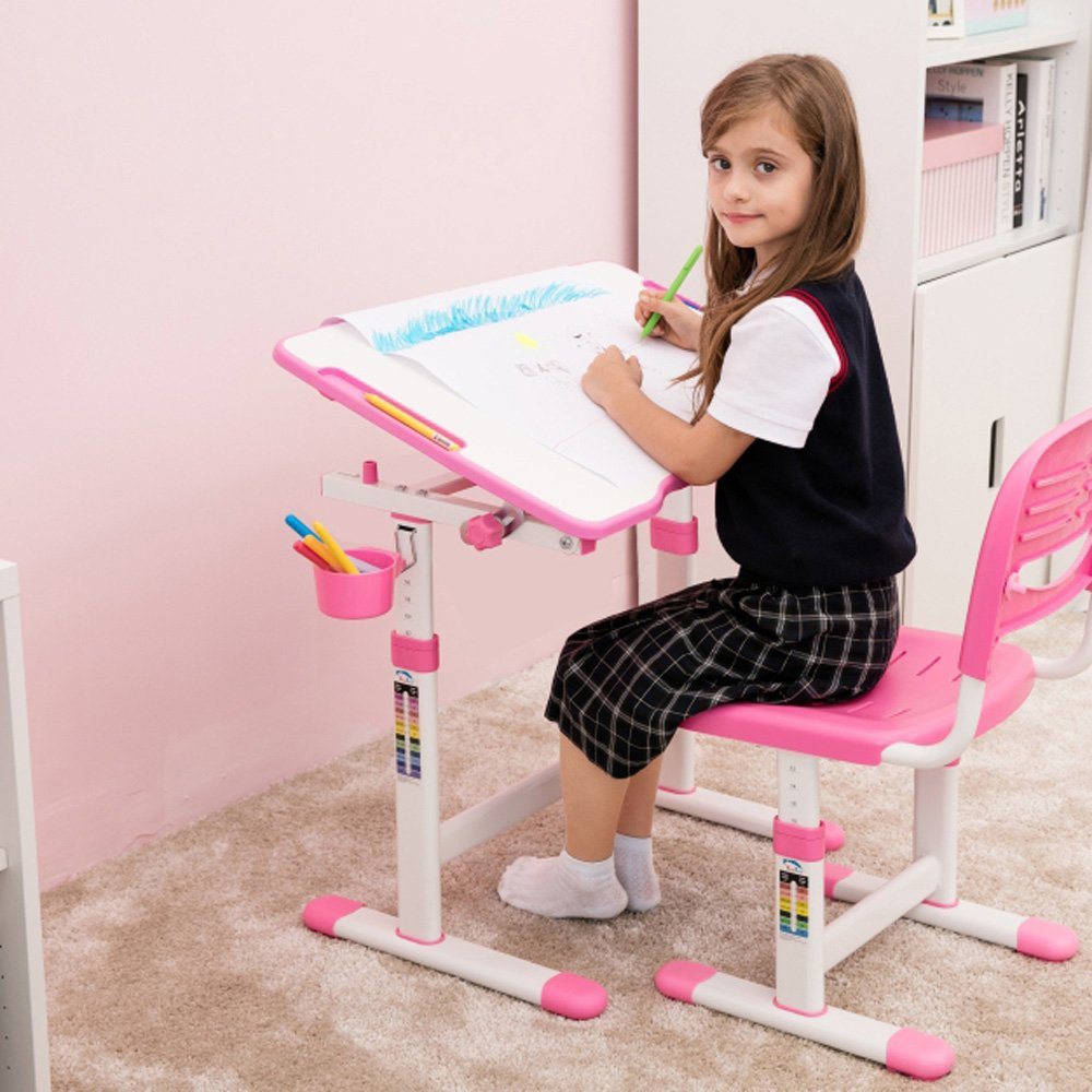 IKAYAA Height Adjustable Children Study Desk and Chair Set 0-40° Tiltable Art Kids Work Station Metal Frame