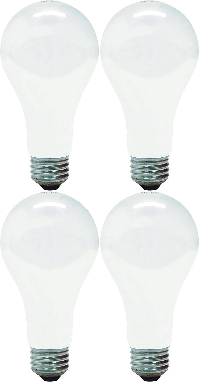 GE 11585-4 A21 Incandescent Soft White Light Bulb, 200-Watt, 4-Pack