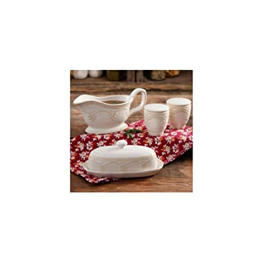 The Pioneer Woman Farmhouse Lace Butter Dish with Gravy Boat and Salt and Pepper Shakers Set