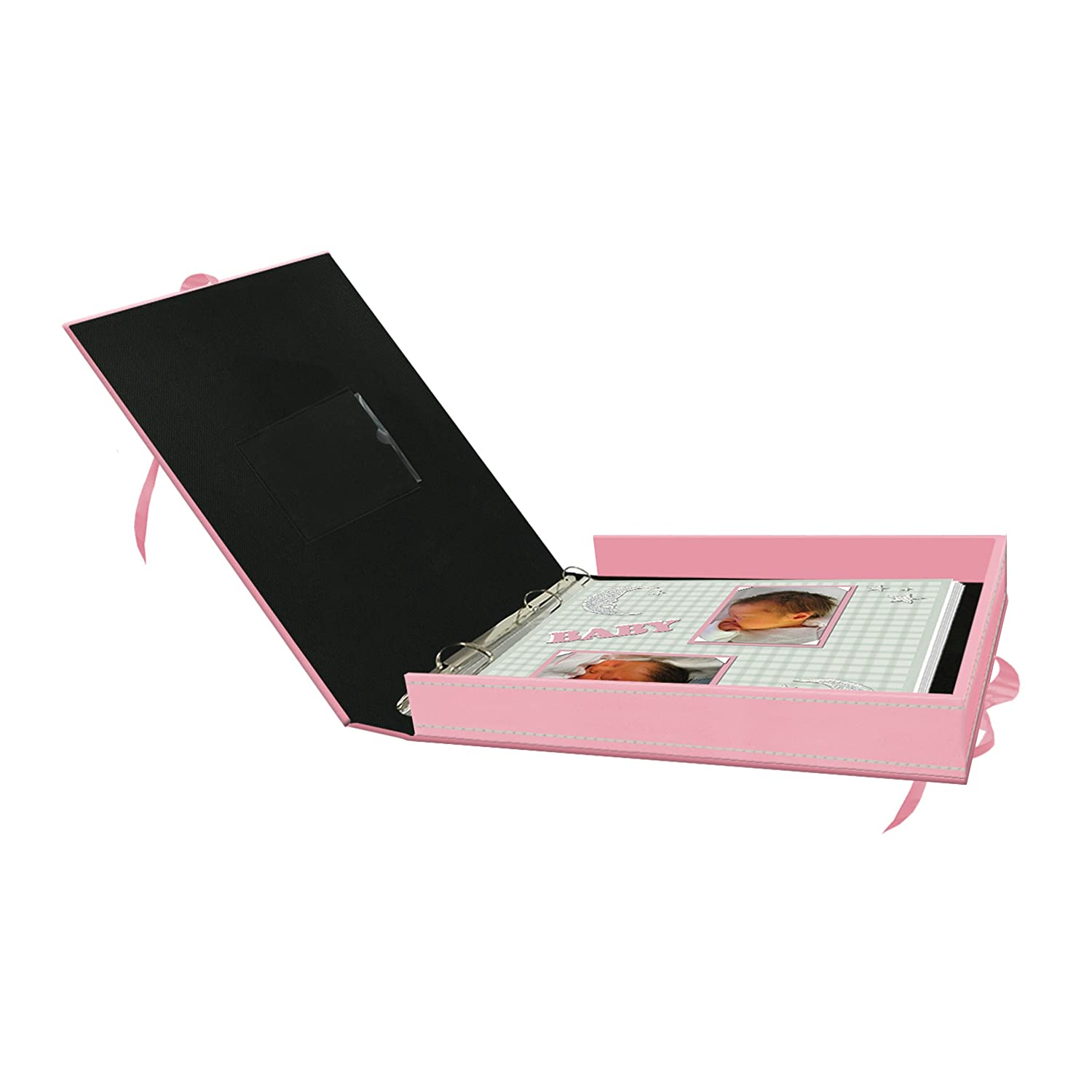 Baby Pink Pioneer 12 Inch by 12 Inch D-Ring Sewn Leatherette Scrapbook Box