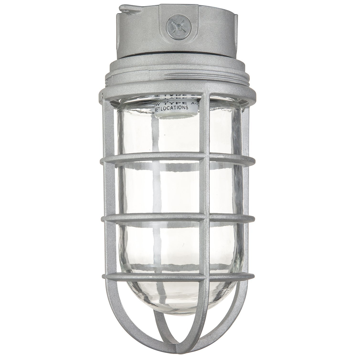 "Sunlite VT201 Ceiling Mount Vaporproof Industrial Fixture with Metallic Finish Clear Glass and 3/4"" Piping"