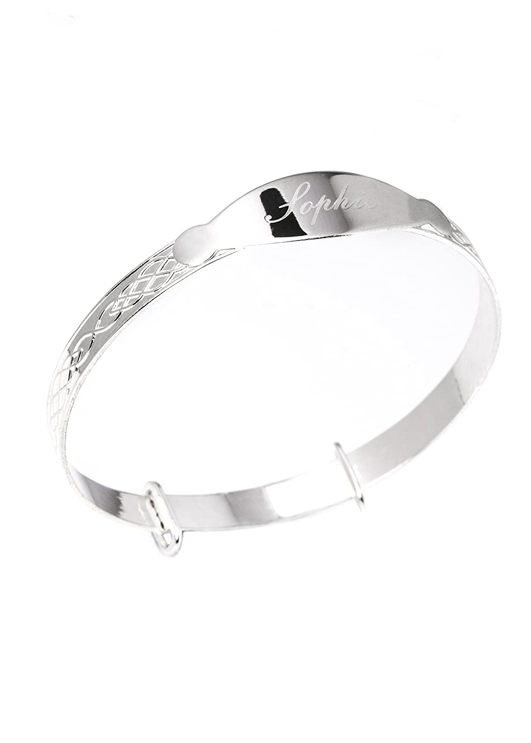 ece6bb6ed4e3d Sterling Silver Expander Personalised Bracelet Bangle for Babies