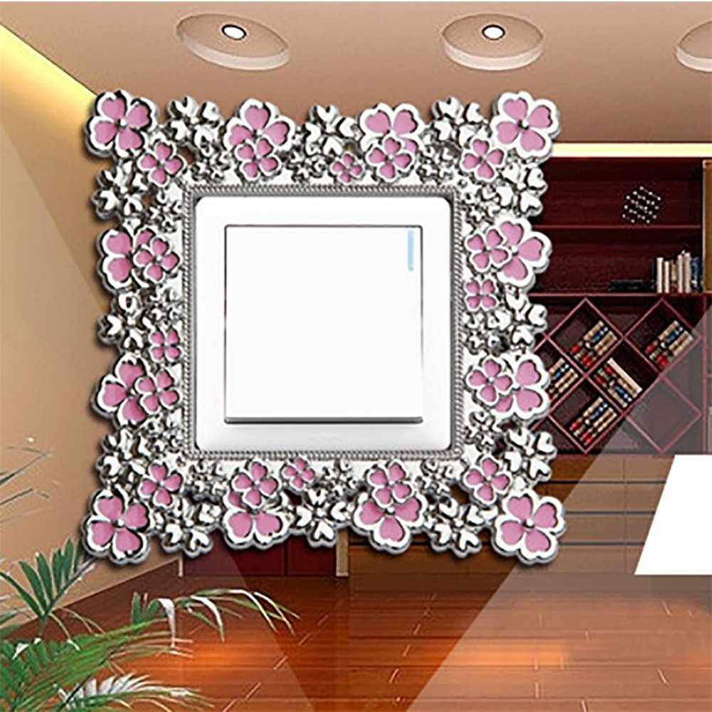 Blue Qinlee 1pcs Creative Plastic Switch Wall Flowers Border Fluorescence Stickers Switch Cover Socket Fashion Wall Stickers Home Decoration