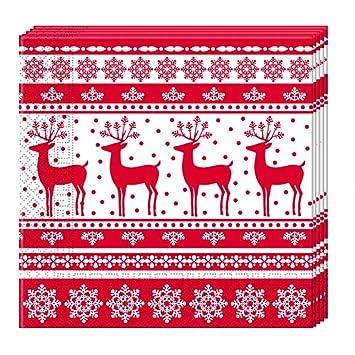 JUINSA Pack 20 Servilletas Navidad, Color Rojo/Blanco (86933 ...