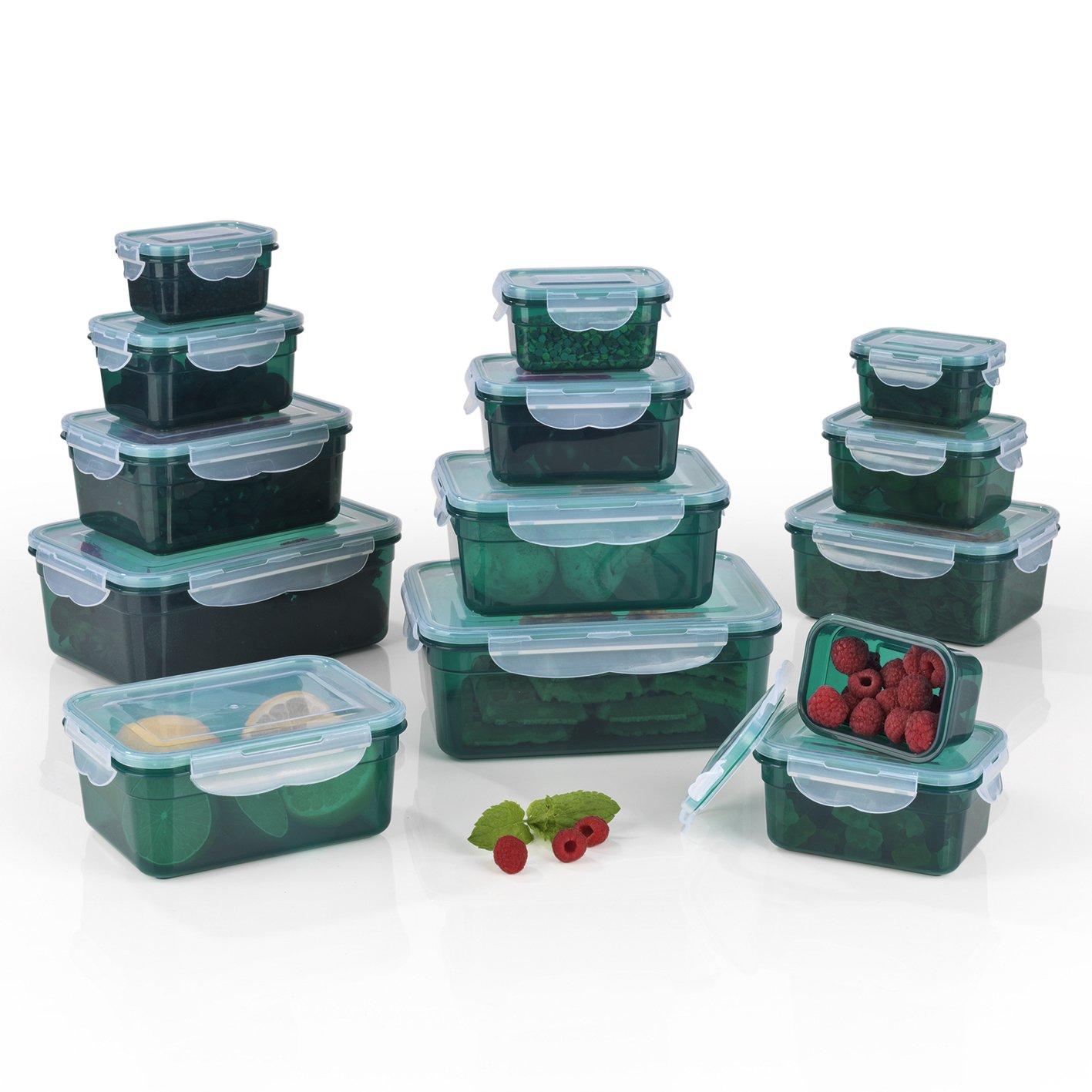 Recipientes herméticos Gourmet Maxx, adecuados para microondas, congelador y lavavajillas, Silicona, Smaragdgrün, 2 Unidades
