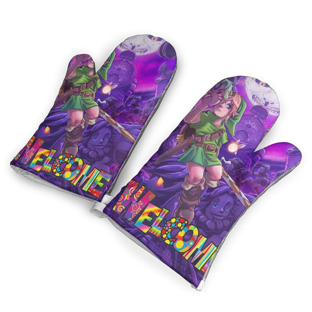 not Legend of Zelda Majoras Mask Art Oven Mitts with Polyester Fabric Printed Pattern,1 Pair of Heat Resistant Oven Gloves for Cooking,Baking,Grilling,Barbecue Potholders