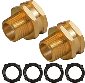 Hourleey GHT to NPT Connector, GHT to NPT Adapter Brass Fitting, Garden Hose Adapter, 2 Pack (3/4