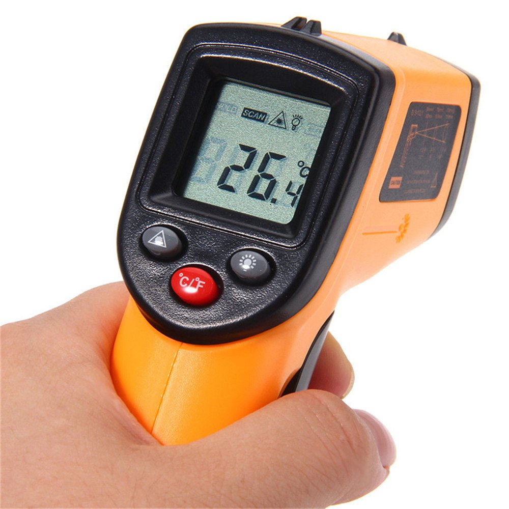 Non-contact Digital Infrared Thermometer IR Temperature Laser Gun Diagnostic-tool Tester Pyrometer Range C/F -50 to 380C/-58 to 716°F Kitchen Cooking (1, Orange)