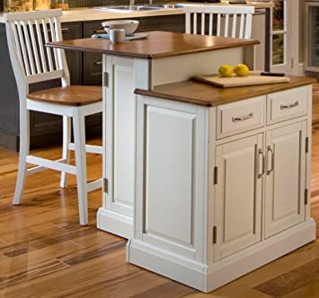Home Styles 5010 948 Woodbridge 2 Tier Kitchen Island With 2 Stool, White