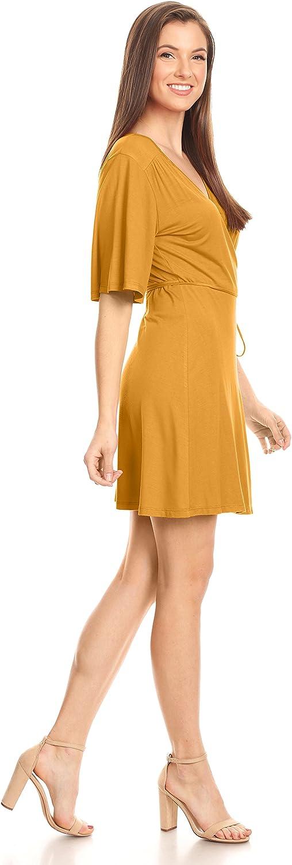 USA Womens Wrap Dress Flared Sleeve Reg and Plus Size Wrap Dress with Tie Belt