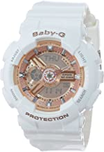 Casio Women's BA-110-7A1CR Baby-G Rose Gold Analog-Digital Watch with White Resin