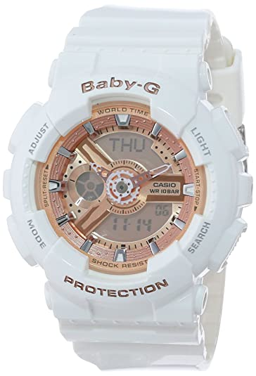 d58de64e783e6 Amazon.com  Casio Women s BA-110-7A1CR Baby-G Rose Gold Analog-Digital Watch  with White Resin Band  Casio  Watches