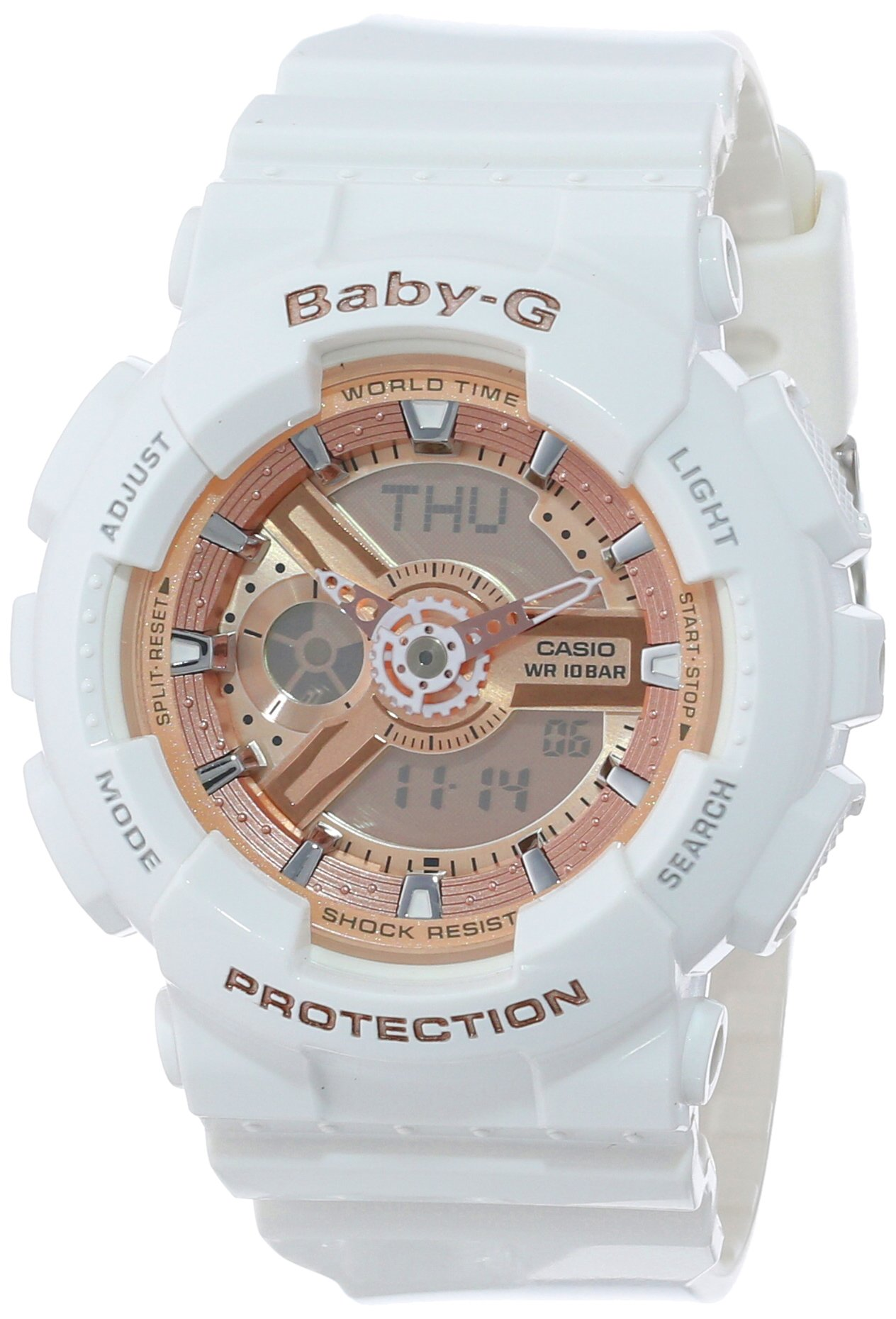 Casio Women's BA-110-7A1CR Baby-G Rose Gold Analog-Digital Watch with White Resin Band