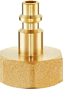 """Blaburia Heavy Duty Brass Winterize Sprinkler Systems Blowout Lines Air Compressor Quick Connect 1/4"""" Adapter Plug to GHT 3/4"""" Garden Hose Threading Water Lines Faucets RV, Trailer Camper Winterize"""