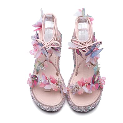 22a044dcf BlingNicer Sweet Lace Up Rural Style Women Sandals Butterfly Beading Summer  Shoes Fashion Popular Wedges Shoes