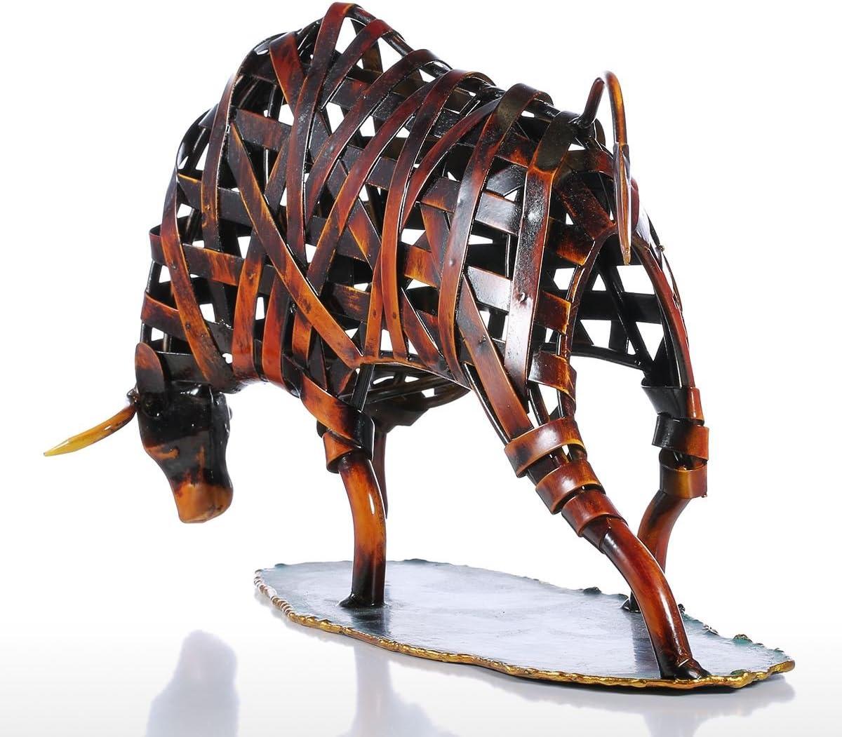 Lechnical Tooarts Metallo Tessitura Bestiame Ferro Rosso Scultura Regalo del mestiere Animale Statuetta Arte Moderna Home Decor Astratta