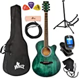 WINZZ 40 Inches Cutaway Acoustic Guitar Beginner Starter Bundle with Padded Bag, Stand, Tuner, Pickup, Strap, Picks…