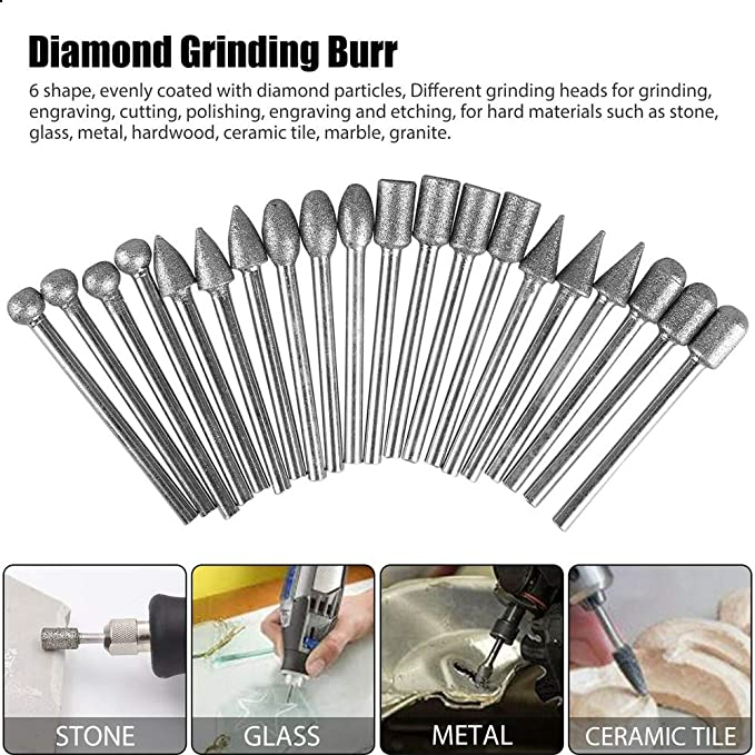 Diamond Grinding Carving Cutting Burr Bit Set For Dremel Rotary Tool stone glass