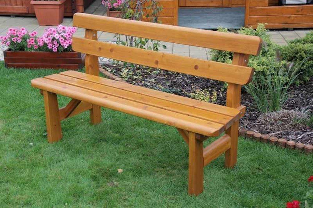 Massivholz Gartenbank Findland Kiefer , unbehandelt , B 151 cm , Holzstärke 42 mm !