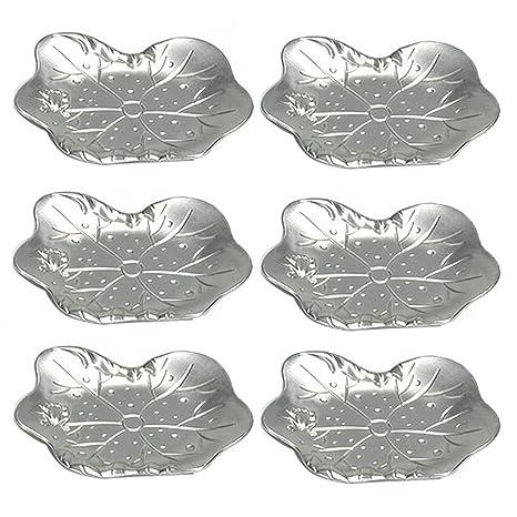 osunp Metal posavasos Set de 6 pcs aleación de zinc Lotus Leaf estilo copa Mat antideslizante