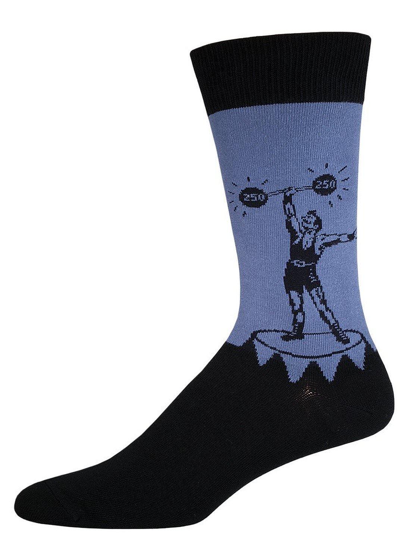 Socksmith Strongman Mens Steel Blue Crew Socks