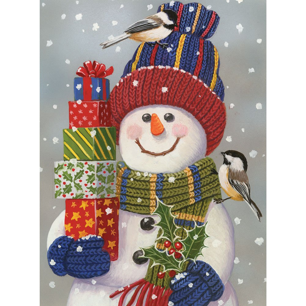 Bits And Pieces 1000 Piece Jigsaw Puzzle Snowman With Presents Snowman Christmas Puzzle By Artist William Vanderdasson 1000 Pc Jigsaw