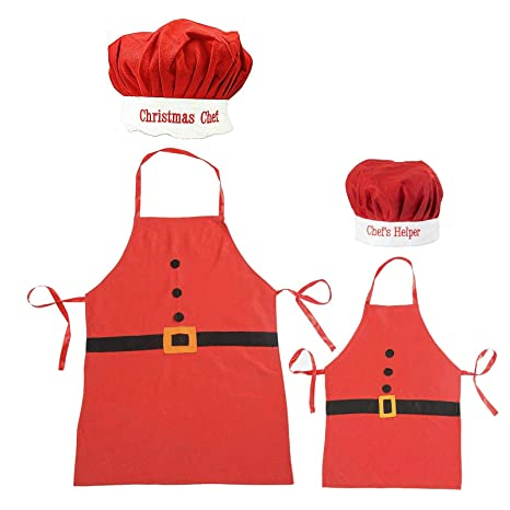 Adulti e Bambini Babbo Natale Grembiule e cappello da cuoco set ... 6dca7197ac5a