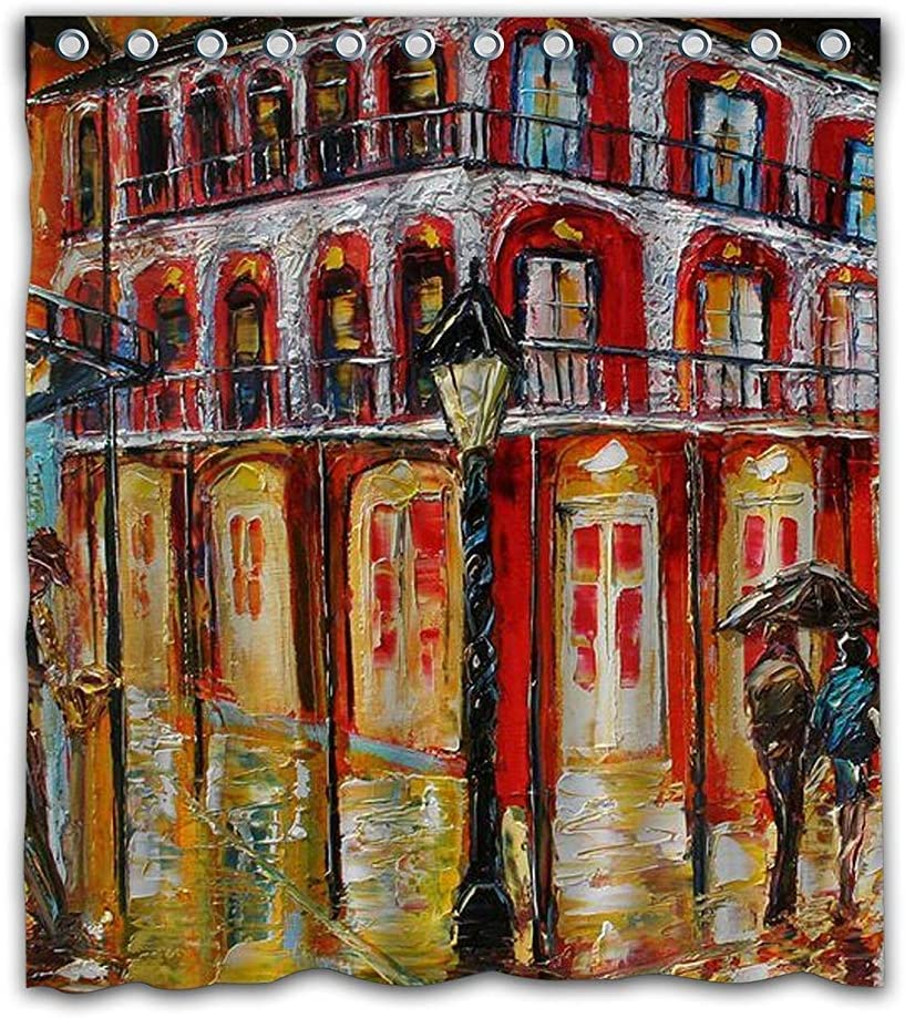 Ashasds Artistic New Orleans French Quarter Shower Curtain Style Water Polyester Fabric Bathroom Decor