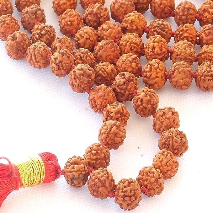 JX2 Rudraksha Mala 108 Cuentas Collar, Seed Bead Natural del Himalaya semillas de Rudraksha cuentas de oración pulsera Mala Wrap pulsera Bead tamaño 9 mm: ...