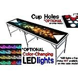 PartyPongTables.com プロフェッショナルビアポンテーブル8フィート カップ穴&LEDライトのオプション付き – バブルとカラースペクトル版