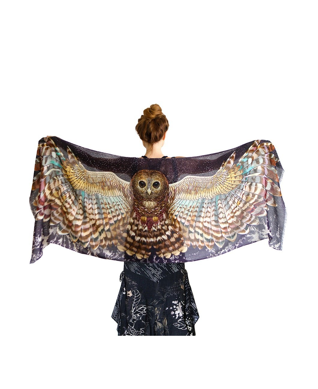 Night Owl Wings Scarf - Hand Painted Wide Spread Owl Wings. Silk & Cashmere