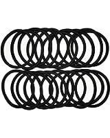 結び目・金具なし リング ヘアゴム 20本セットS-0030 (太さ:4mm, 黒)