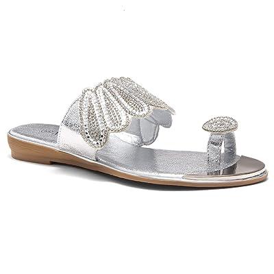 Herstyle Showstopper Womens Rhinestone Bohemian Slip On Flip Flops Shoes Strap Gladiator Toe Loop Flat Sandals | Flats