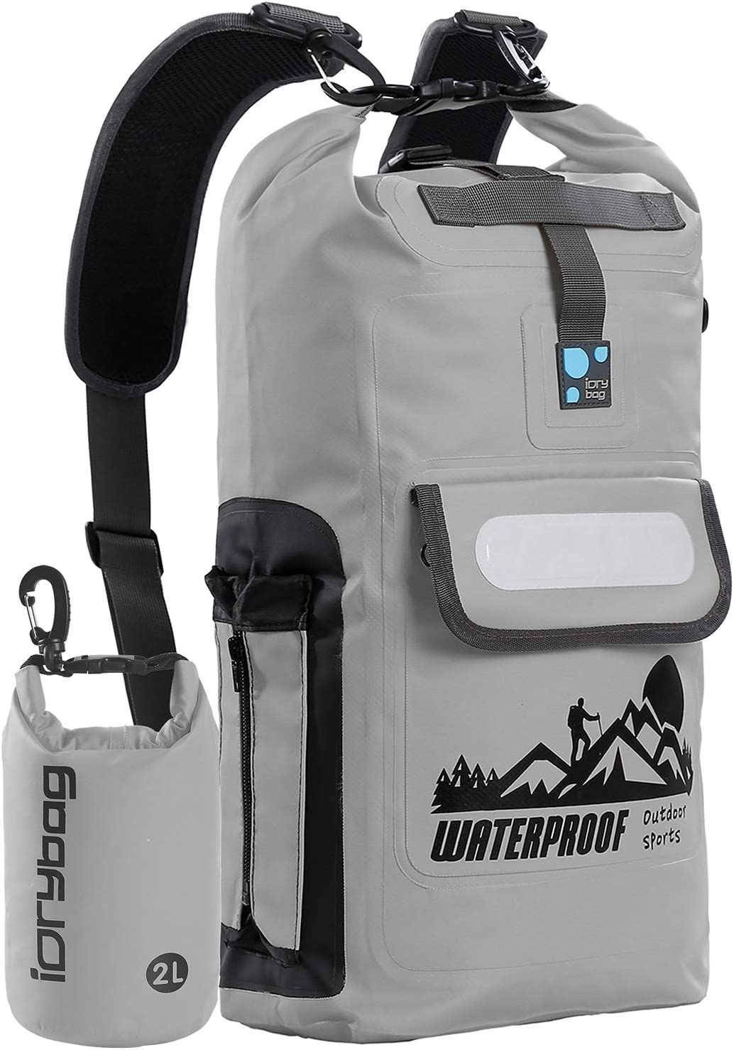 Pale gray waterproof backpack with black accents rolled up and unrolled