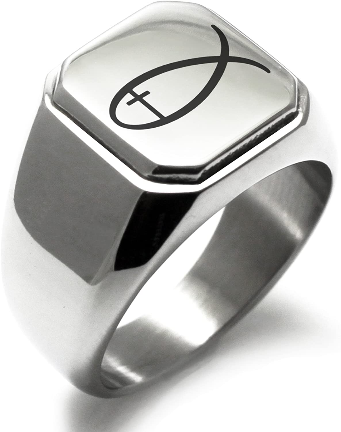 Stainless Steel Fish with Jesus Ichthus Cross Square Flat Top Biker Style Polished Ring
