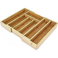Relaxdays Besteckkasten aus Bambus HBT ca. 5 x 42,7 x 34cm Besteckeinsatz ausziehbar mit 5 bis 7 Fächern als Schubladeneinsatz und Küchenorganizer pflegeleichte Besteckeinlage für alle Schubladen, natur