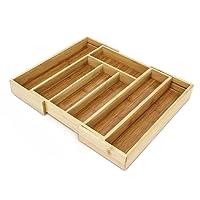 Relaxdays Besteckkasten aus Bambus HBT ca. 5 x 43 x 34cm Besteckeinsatz ausziehbar mit 5 bis 7 Fächern als Schubladeneinsatz und Küchenorganizer pflegeleichte Besteckeinlage für alle Schubladen, natur
