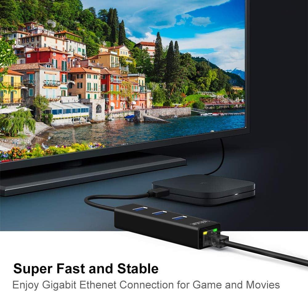 Linux Aluminum USB 3.0 hub with Ethernet Port Mac Ultrabook MacBook 3 Ports USB HUB Gigabit Ethernet LAN Network Adapter RJ45 10//100//1000 Super Speed up to 5Gbs for Windows