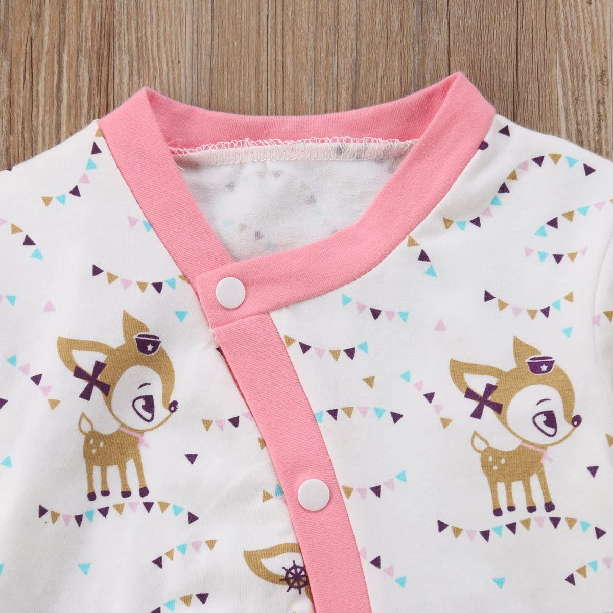 VISGOGO Baby Clothing Newborn Baby Boys Girls Cartoon Deer Print Romper Long Sleeve Cotton Jumpsuit Outfits Clothes