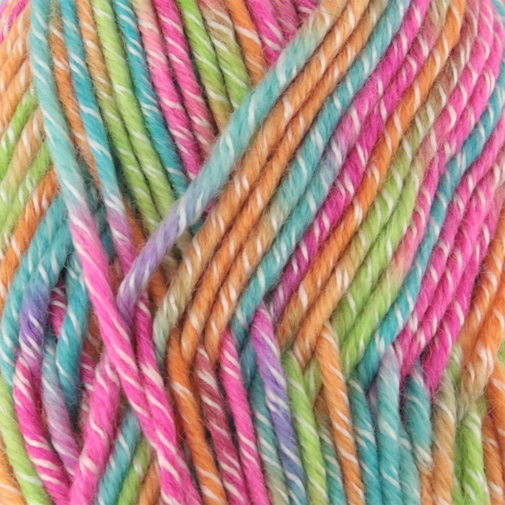 BambooMN Brand - 10 Skeins - Chunky Melody Rainbow Sherbet 70% Wool Blend Yarn, Bulky, 100g/skein style B945