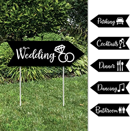 Wedding Arrow Sign Party Decoration Outdoor White Wooden Ceremony
